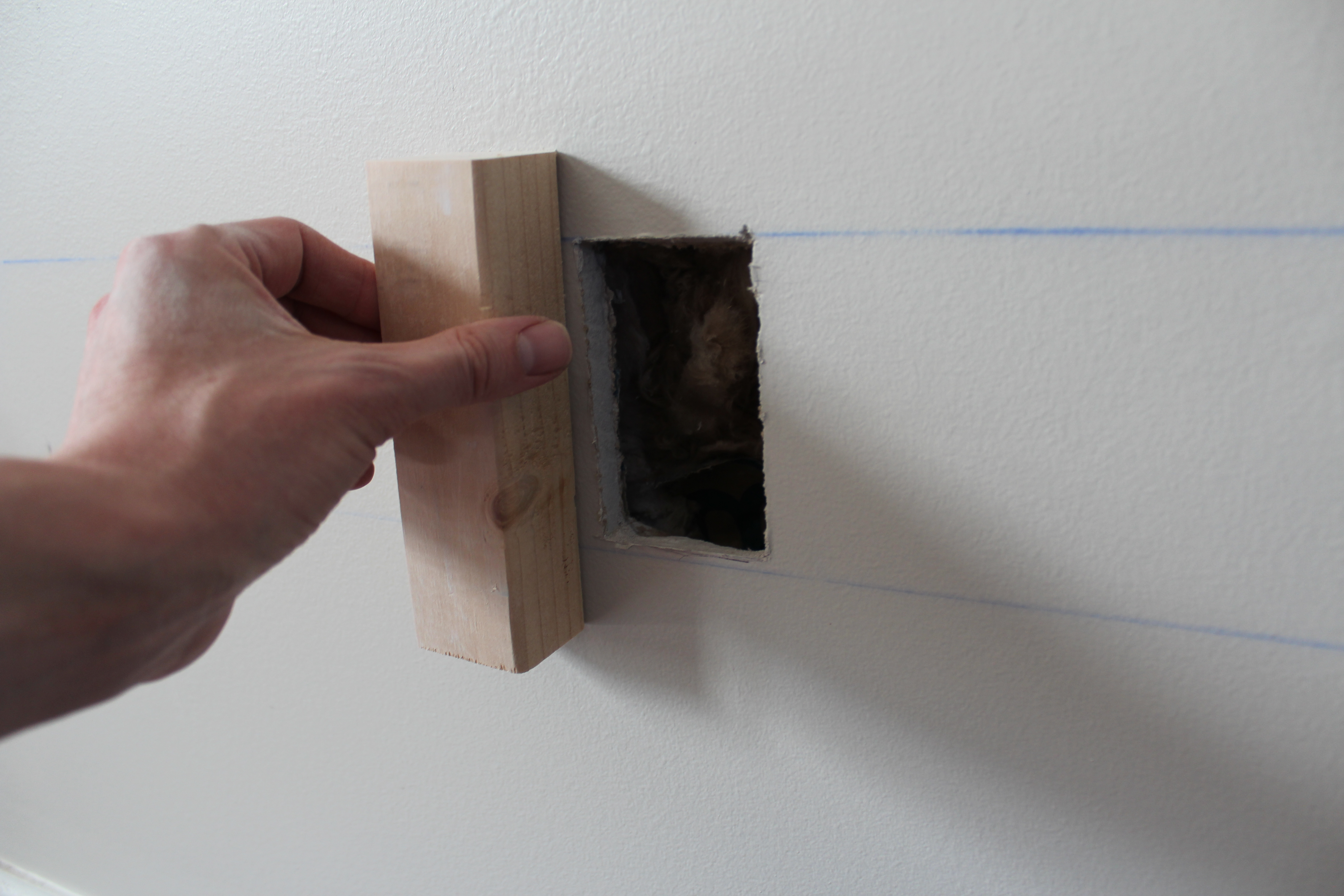How to repair large hole in drywall - I Used A Set Of Channel Locks To Hold The Piece In Place While I Screwed Into It I Even Made The Hole A Little Bigger To Accommodate The Channel Locks