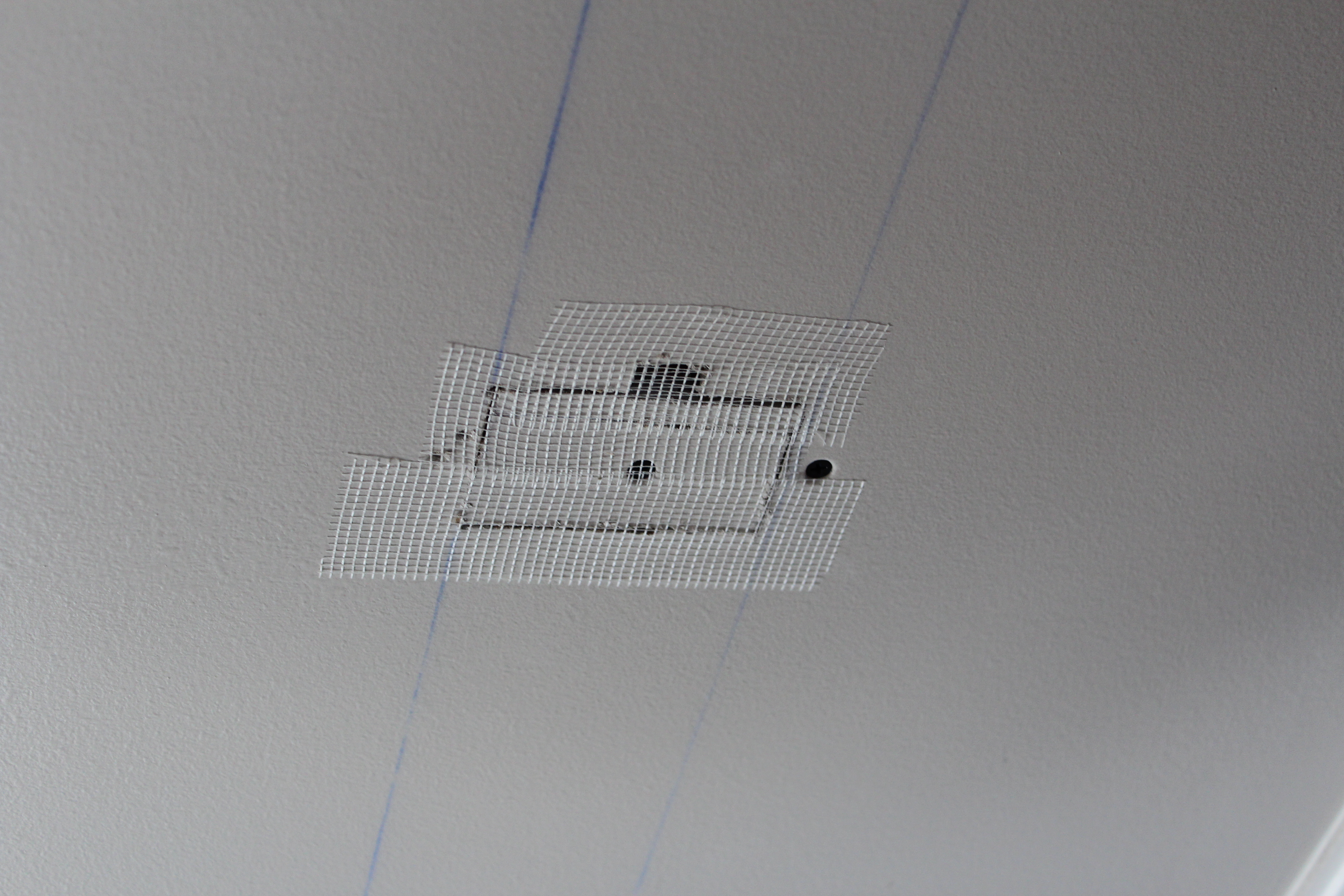 How to repair large hole in drywall - I Could Probably Add Some Spackle To That Hole Below Before I Cover It With Mesh But It S Ok To Skip It If It Were Any Bigger I Would Open It Up
