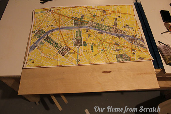 map on plywood