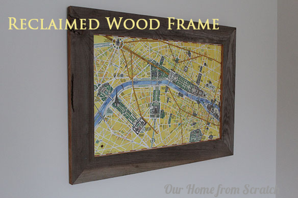reclaimed wood frame with map