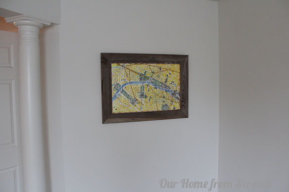 reclaimed wood map on wall