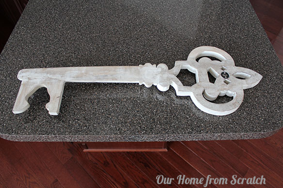Large wooden key wall decor