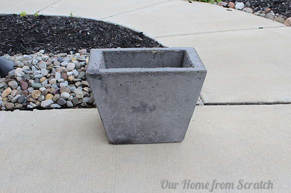 black concrete planter