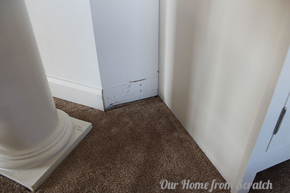 baseboard trim on a cabinet